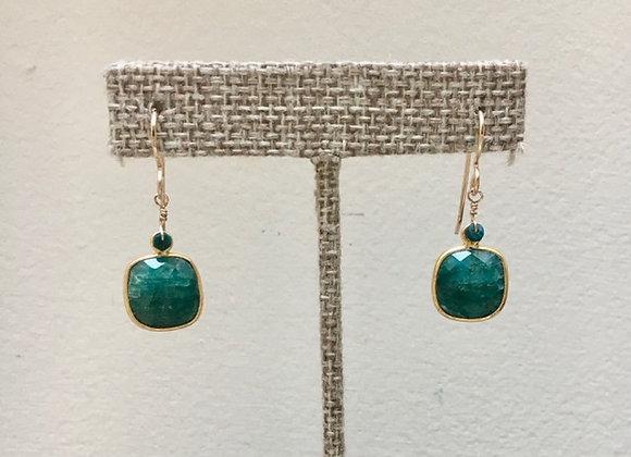 Emerald Bezel Earrings