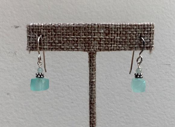 Chalcedony Cube Earrings