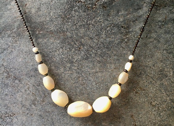 Mother-of-Pearl and Pyrite Nugget Necklace