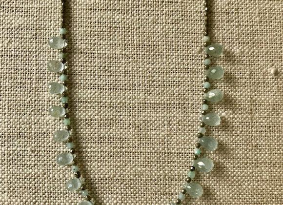 Aquamarine and Pyrite Dewdrop Necklace