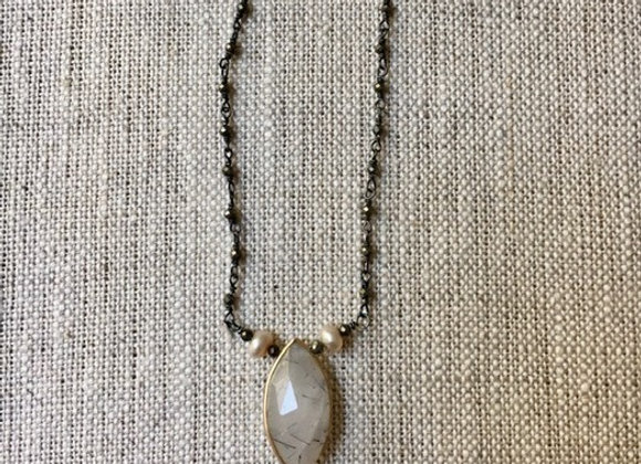 Rutilated Quartz, Pearl and Pyrite Delight Necklace