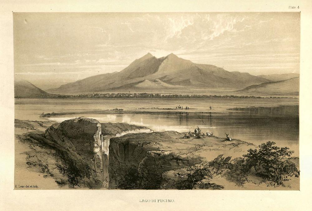 Lago di Fucino met op de achtergrond de Monte Velino, door Edward Lear zelf getekend