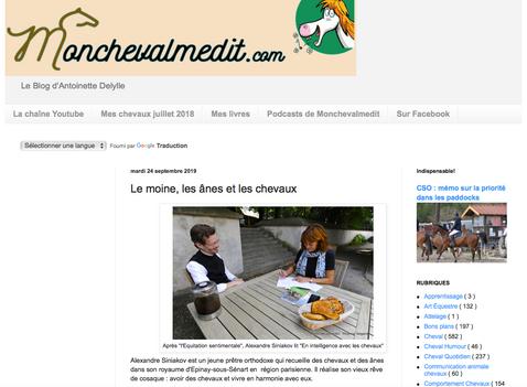 """Reportage sur notre écurie dans le blog d'Antoinette Delylle """"Mon cheval me dit"""""""