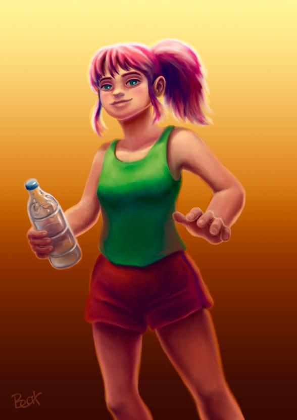 Chica cartoon con botella de agua