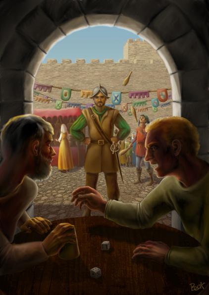 Cuadrillero en ciudad medieval
