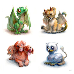 Mythological monsters puppies