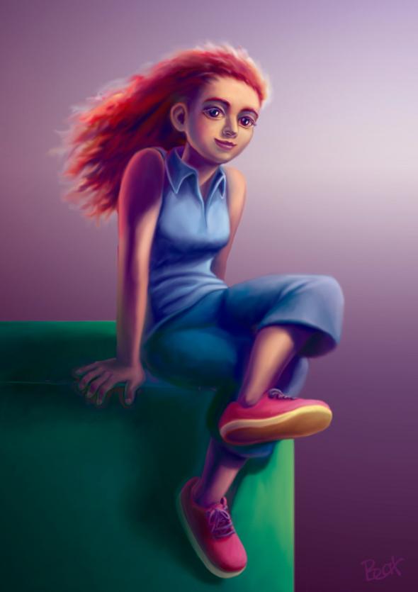 Chica cartoon sentada en cubo verde