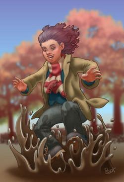 Chica saltando en charco de barro