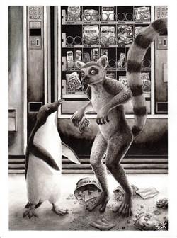 Lémur y pingüino
