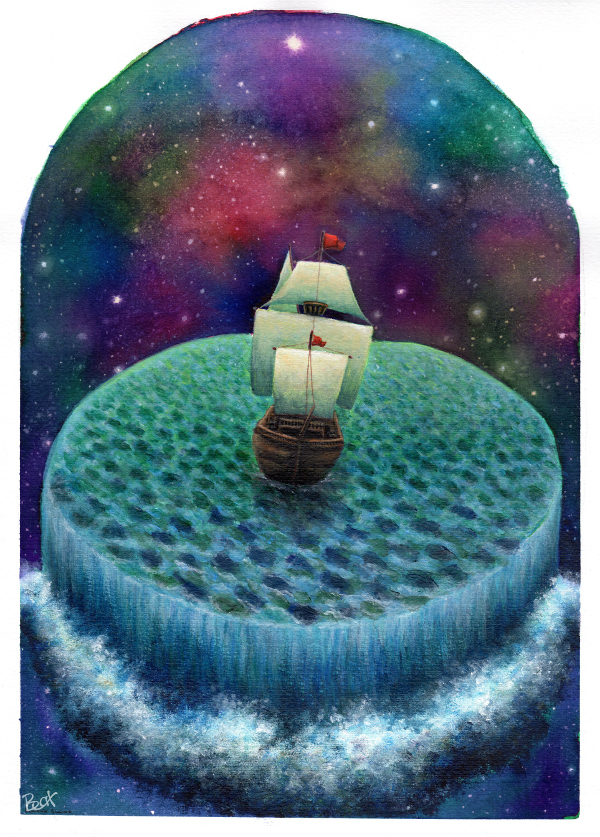 Galeón en el océano