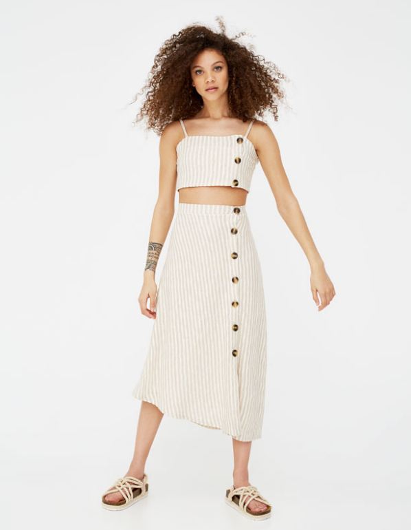 Top cropped à boutons