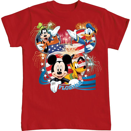 """Disney's Characters """"USA Flag"""" Kids T-Shirt, Red"""
