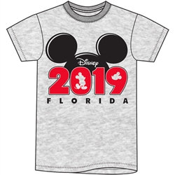 "Disney's ""Mickey"" Ears ""2019"" Youth Unisex TShirt, Gray (Florida Namedrop)"