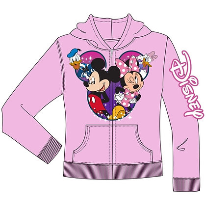 Disney's Mickey, Minnie, Daisy, & Donald Zip Up Youth Hoodie, Light Pink