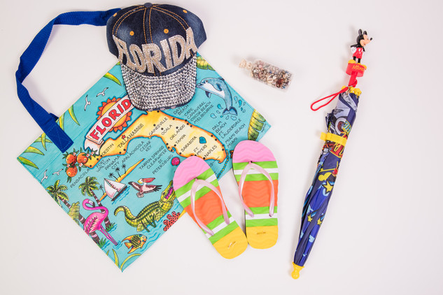 Florida map bag, beach sandals Mickey umbrella and Florida hat