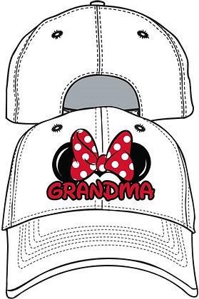 Disney's Adult Women's Grandma 'Minnie Mouse Bow' White Hat