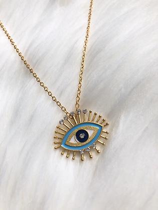 Blue Golden Eye Necklace