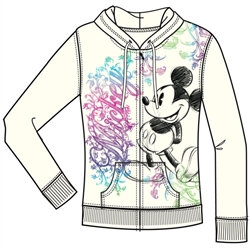"""Disney's """"Mickey Mouse"""" Multi Colored Adult Junior Zip Up Hoodie, Off White"""