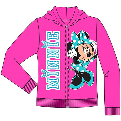 """Disney's """"Minnie Mouse"""" Pink Sassy Toddler Zip Up Hoodie 2T, 3T, 4T, Fuchsia"""