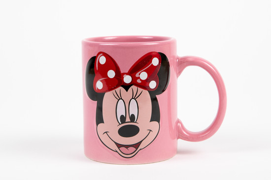 Minnie Mouse pink mug with red polka dot bow