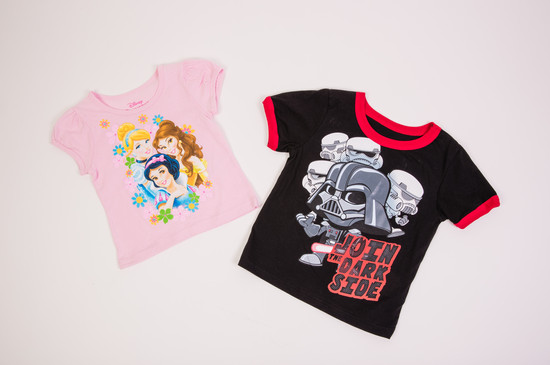 Kids Disney Princess and Star Wars t-shirts