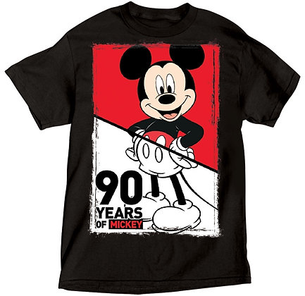 "Disney's ""Mickey Mouse"" Celebrates 90 Years Black TShirt"