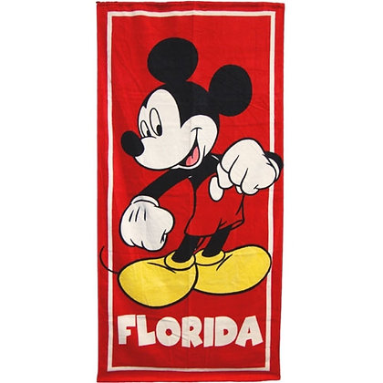 """Disney's Classic Mickey Mouse, Florida 30"""" X 60"""" Red Beach Towel"""