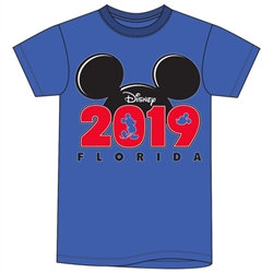 "Disney's ""Mickey"" Ears ""2019"" Youth Unisex TShirt, Royal Blue (Florida Namedrop)"
