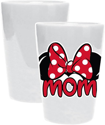 "Disney's Minnie ""Mom"" Ceramic Collector Glass, White & Red"