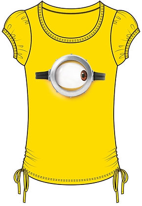 Disney One Eye Right Minions Side Tie Girls Yellow Shirt
