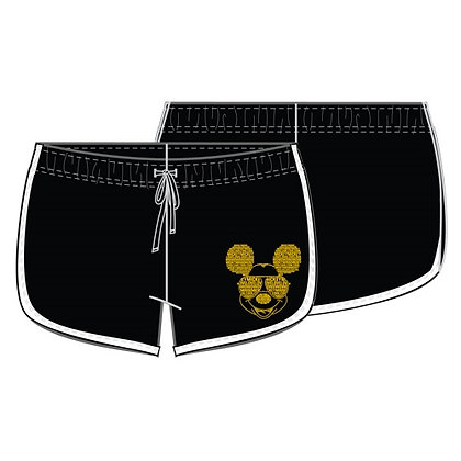 Disney's 'Mickey Mouse' Junior Black, White & Gold Lounge Shorts