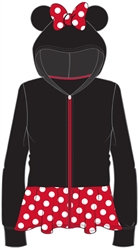 "Disney's Classic ""Minnie Mouse"" Ears Girls Zipper Hoodie, Black & Red"