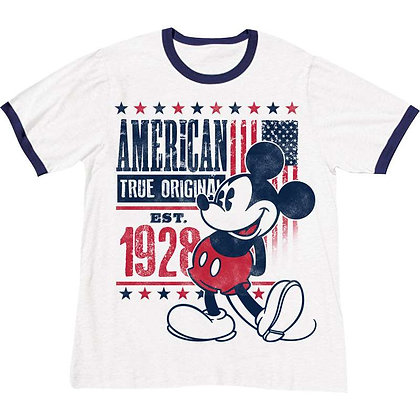 "Disney's ""Mickey Mouse"" Est. 1928 American TShirt, Navy & White"