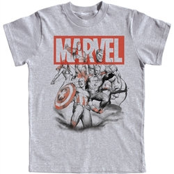 "Marvel's ""Avengers"" Captain America, Thor, Hulk Youth Tee, Gray"