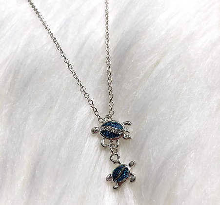 Blue Turtle Family Necklace