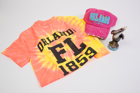 Orlando Florida T-shirt with pink Orlando hat and pelican statue