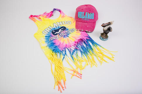 Florida tie dye fringe t-shirt, Orlando hat, and pelican gift set