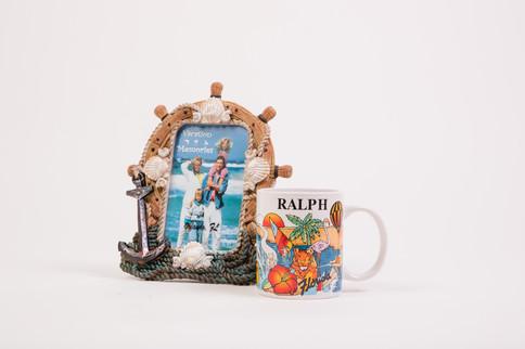 Florida beach seashell frame with Ralph coffee mug