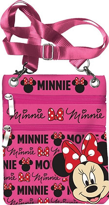 "Disney's ""Minnie Mouse"" Glam Cross Body Neon Pink Passport Bag"