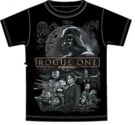 "Disney's ""Star Wars"" Rogue One Cast Youth Unisex T Shirt, Black"