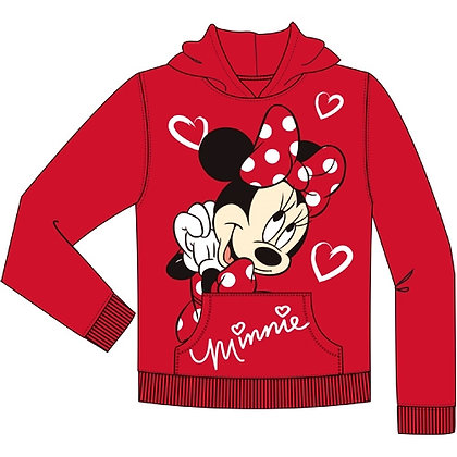 "Disney's ""Minnie Mouse"" Girls Red Love Pullover Hoodie with Hearts"