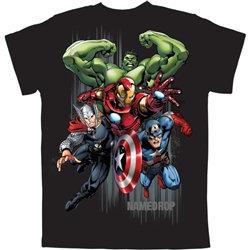 """Marvel's"" Avengers Captain America, Iron Man, Thor, Hulk Boys Tee, Black"