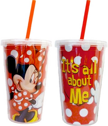 "Disney's ""Minnie Mouse"" All About Me Red & White Tumbler with Straw"