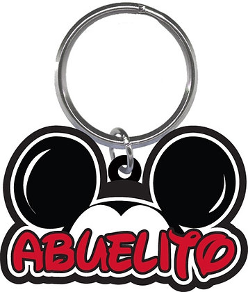 "Disney's Mickey Mouse Ears Shaped ""Abuelito"" (Grandpa) Keychain"