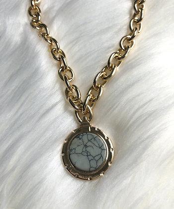 Big Golden Det Grey Necklace