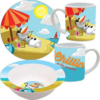 """Disney's """"Frozen"""" Chillin' in the Sunshine 3pc Porcelain Dinner Set"""