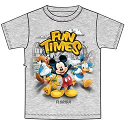 "Disney's Characters ""Fun Times"" Youth Tee, Gray (Florida Namedrop)"