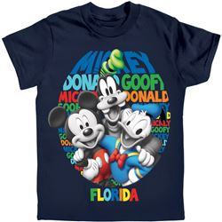 "Disney's ""Just Us Three"" Mickey, Goofy, Donald Boys Tee, Navy (Florida Namedrop)"