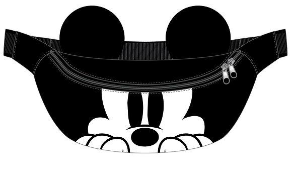 Disney's Peeking Mickey Mouse Black & White Fanny Pack