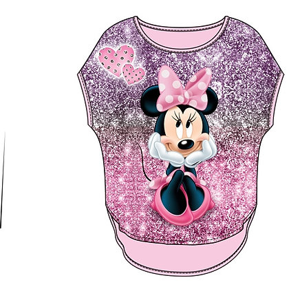 Disney's 'Minnie Mouse' Sparkly Pink Girls Short Sleeve Shirt